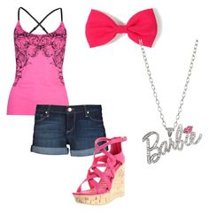"""Barbie Girl"" by jai-bird ❤ liked on Polyvore featuring Fox, Paige Denim, Fahrenheit and Forever 21"