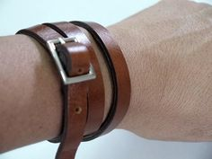 Tan Leather Bracelet Wrap Bracelet Leather Cuff with от BeadSiam