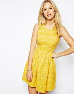 Whistles linn lace dress yellow