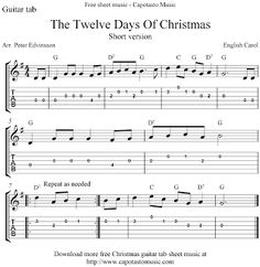 Free Sheet Music Scores: The Twelve Days Of Christmas, free guitar tablature sheet music Guitar Tabs Acoustic, Ukulele Chords Songs, Music Tabs, Easy Guitar Songs, Guitar Chords For Songs, Acoustic Guitar Lessons, Guitar Tips, Banjo Ukulele, Recorder Music