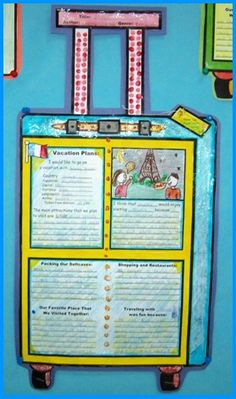 Examples of Suitcase Book Report Projects- students choose a location they think the main character of a book they have read would like to visit, talk about attractions would see and objects they would buy, research information about the country Book Report Projects, Reading Projects, Reading Lessons, Research Projects, Book Projects, Reading Strategies, Teaching Reading, Teaching Tools, School Projects