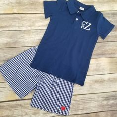 abff80d2fb0 Boys Back to School Outfit Boys Monogrammed Polo Shirt Toddler Gingham  Shorts 1st Day of Preschool Outfit Kindergarten Clothes