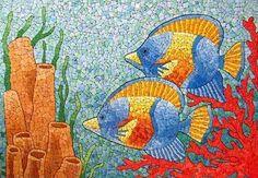 reutilizar las cáscaras de huevo pintura del arte mar y peces decoración de mosaicos
