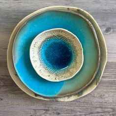 Turquoise dinnerware set - ceramic Bowl ceramic dinner plate - set of 3 - Chef\u0027s plate set Acqua by BlueDoorCeramics on Etsy & Modern Dinnerware Place Setting Handmade Ceramic by AndoverPottery ...
