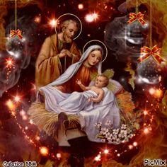 Merry Christmas Gif, Merry Christmas Pictures, Christmas Jesus, Christmas Nativity Scene, Christmas Scenes, Vintage Christmas Cards, Christmas Wishes, Christmas Art, Christmas Greetings