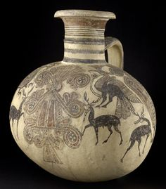 Unique water-jug combining Cypriot and Phoenician shapes and images, 700-600 BC | Ashmolean Museum