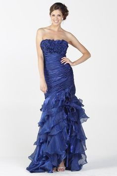 Strapless chiffon Cascading form fitting formal evening gown dress XS to 3XL  Retail $289.00 Our Price: $158.90