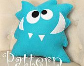 Monster Plush Pattern PDF Tutorial and Printable Templates -Nom Nom Monster Pillow Pattern-