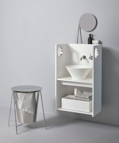 Pack white and Oh! L Chrome, iconic designs for the sake of functionality  See more at www.yvecollection.com  [ph. Sara Magni @kuru]  #smart #home #yvecollection #madeinitaly #design #pack #oh Bathroom Collections, Design Development, Design Awards, Icon Design, Ph, Sink, Chrome, Flooring, Home Decor