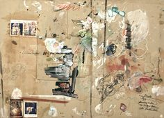 The beautiful messes of Dieter Roth & Björn Roth | 1. Forcierte Matte, 1985-1986 Acrylic paint, oil paint, marker, grease crayon, pencil, coffee and collage (color photograph, polaroid photograph, coin, plastic adhesive tape, adhesive label) on chipboard and plywood 84.1x114cm | huge gray sheets of cardboard Roth used to cover the work surfaces of his studios and living quarters. These became diaries of his innovative, inspired, chaotic and ultimately lucid process. #studio #process #art #wa...