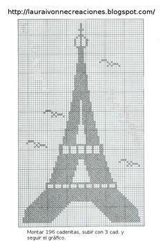Grafico de La Torre Eiffel. Tomado de la Web en Creaciones Laura Ivonne, enviado por una puertorriqueña llamada Elizabeth.