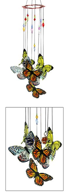 "Hand-Painted Metal Butterfly Wind Chime with wire-wrapped colored glass spheres. Find a favorite spot in your backyard, porch, or patio and let the good times chime! Metal & glass, 17"" H (Shop to feed animals at theanimalrescuesite.greatergood.com)"