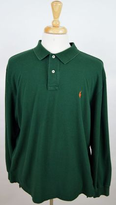 men's Polo Ralph Lauren green long sleeve orange pony cotton rugby polo XXL used #poloralphlauren #PoloRugby