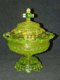 Belmont Daisy Button Vaseline Canary Yellow Glass Covered Compote No. 100 EAPG