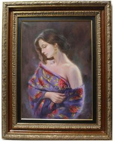 Mario Diaz : Woman with shawl. Medium: Oil on canvas Measurements (cm): 97x77 Canvas measurements (cm): 70x50 Interior frame: Yes.  Beautiful artwork of this valued Andalusian painter, with a very wide color palette.$1,855.88