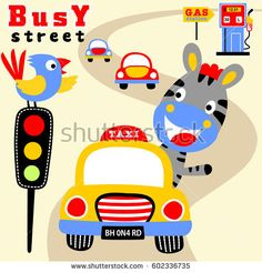 cute zebra driving a car, meet with bird his friend in traffic light. Kids t shirt design, wallpaper, vector cartoon illustration