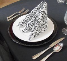 Wedding Black and White Damask Table Napkins Linens Fabric. $10.00, via Etsy.