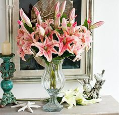 RARE & REAL TOUCH artificial flowers - 2-head Lilies 6 stems - Light Pink & White: Amazon.co.uk: Garden & Outdoors