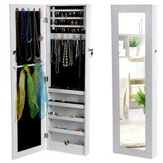Songmics® 120 x 36 x 9,5 cm Armoire à bijoux Armoire murale Rangement avec Miroir et clés (Blanc) JBC24W: Amazon.fr: Bijoux