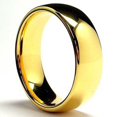 7MM 18K Gold Plated Dome Tungsten Ring Wedding Band Sizes 6 to 13: http://www.amazon.com/Gold-Plated-Tungsten-Wedding-Sizes/dp/B002EBOW4S/?tag=utilis-20