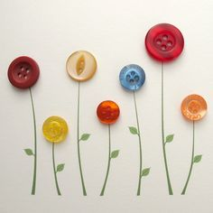 Button Notecard - Flowers