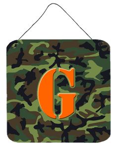 Letter G Initial Monogram - Camo Green Wall or Door Hanging Prints