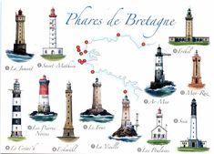 Lighthouses of the Bretagne Vintage Images, Vintage Posters, Nautical Lighting, Lighthouse Pictures, Costa, Show Me The Way, Beacon Of Light, Light Of The World, Water Tower