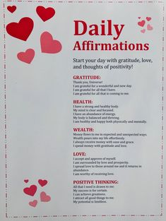 DAILY AFFIRMATIONS: a list of my very favorite affirmations that target some of the most important aspects of our lives. Can be used daily to target beliefs on our personal gratitude, health, wealth, love, and positive thinking ♥️ Affirmation Print, Daily Affirmations, Affirmation Quote, Law of Attraction, LOA Affirmations, Positive Affirmation, Affirmation Card Manifestation Law Of Attraction, Affirmation Cards, Daily Affirmations, Our Life, Wealth, Gratitude, Positivity, Be Grateful, Thanks