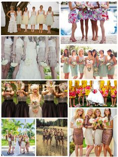 Bridesmaid skirts instead of dresses, the bridesmaids can pick the top of their choice but in the same color as all the other bridesmaids, and can also be used again for different events