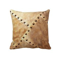 Steampunk Pillow / Cushion Living room design. Home interior design. Stylish, metal and rivet look. Copper/Brown. Decor. Industrial. Gift.