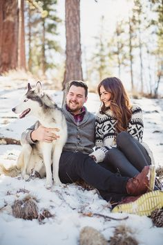Sweaters. Dogs are also perfect accessories!   winter engagement | Snapmotive | Glamour & Grace
