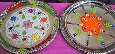 Easy Diwali craft: decorating Thali plates