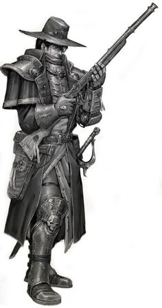 Adam Yaryl, a member of the Qoppe Gang and an excellent sniper. Armed with a high powered classic rifle. Fantasy Warrior, Fantasy Rpg, Fantasy World, Dark Fantasy, Warhammer 40k Rpg, Warhammer Fantasy, Character Concept, Character Art, Character Design