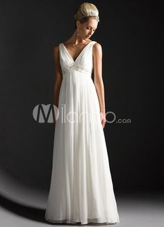 111 99 White Deep V Neck Empire Waist Satin Chiffon Wedding Dress Empire Waist Wedding Dresses Wedding Dresses Wedding Apparel Milanoo com - Stylehive