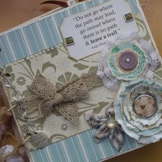 Gorgeous blue and cream scrapbook.  Leave a Trail - Envelope Mini Scrapbook Album, Premade photo album. $59.95 from handmadebymum, via Etsy.