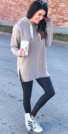 This look will carry you from home to the gym and all the way throughout your entire day. Accessorize the outfit as much or as little as you like. #winteroutfits #winterfashion
