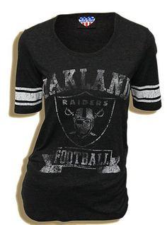 Junk Food NFL Oakland Raiders Football Triblend Vintage Charcoal Black Juniors T-shirt Tee