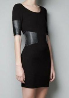 Black Half Sleeve Contrast PU Leather Zipper Dress pictures
