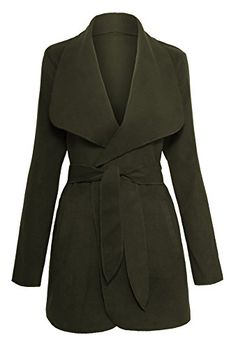 Womens Drape Open Front Waterfall Belted Wrap Coat ** Find out more about the great product at the image link.