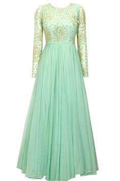 ASTHA NARANG Mint green embroidered anarkali gown available only at Pernia's Pop-Up Shop.