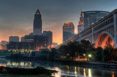 Cleveland Skyline at Dawn Photograph by At Lands End Photography - Cleveland Skyline at Dawn Fine Art Prints and Posters for Sale