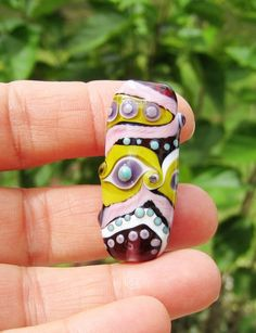 small focal and purple spacers handmade lampwork beads by lisanew my handmade beads pinterest beads