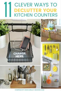 11 Clever Ways To Declutter Kitchen Counters Some of these ideas are so adorable! 11 Clever Ways to Declutter Kitchen Counters! Diy Kitchen Storage, Kitchen Organization, Kitchen Decor, Kitchen Design, Organization Ideas, Kitchen Ideas, Organising Ideas, Pantry Ideas, Kitchen Cleaning