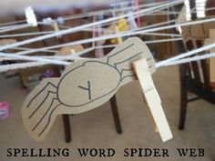 Spelling words spiderweb activity! Halloween fun.