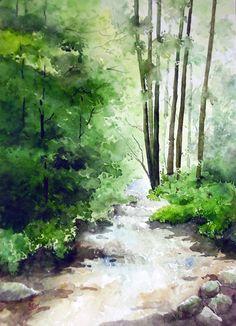 Indian Artist- Jitendra Sule's Watercolour Paintings: Spring water