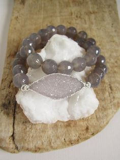 Druzy Bracelet Drusy Quartz Gray Chalcedony by julianneblumlo------I would like to have this as a  choker neclace
