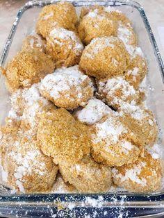 Paleo szilvás gombóc     Sokak kérésére megérkezett a tökéletes TOJÁSMENTES PALEO SZILVÁS/BARACKOS GOMBÓC recept????????✌ A tészta e szerint készült:paleo mákos nudli recept!  Hozzávalók:  200 g főtt, pépesített édesburgonya 45 g Szafi Fitt nyílgyökérliszt(nyílgyökérlis Healthy Sweets, Atkins, French Toast, Food And Drink, Fitt, Vegan, Breakfast, Ethnic Recipes, Morning Coffee