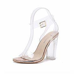 aba574e6dee2 Transparent Sandales à Talons Hauts Clear Chaussure Femmes Boucle  Métallique Cristal Escarpins High Heels Élégant Chaussure