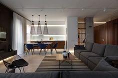 월넛 우드, 따뜻하고 중후한 멋이 있는 인테리어디자인 우크라이나에 위치한 아파트, 월넛우드를 활용하여 ...