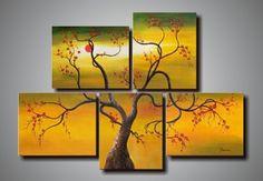(no framed)100% handmade discount abstract tree oil goods frameless art 5 panel modern sets wall decor $49.00